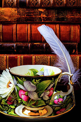 White Feather Photograph - Tea Cup With Old Books And Feather by Garry Gay