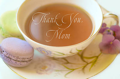 Teacup With The Words Thank You Mom Art Print