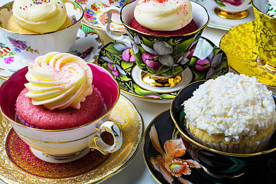 Tea Cups Full Of Cupcakes Art Print