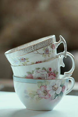 Vintage Teacup Photograph - Tea For Three by Bonnie Bruno