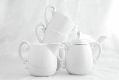 Cups Photograph - Tea For Three In White by Tom Mc Nemar