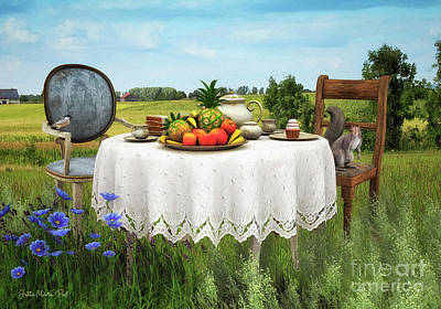 Table Cloth Digital Art - Tea For Two by Jutta Maria Pusl