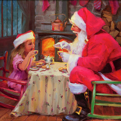 Santa Wall Art - Painting - Tea For Two by Steve Henderson