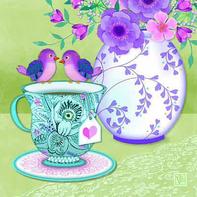 Flowers And Roses Mixed Media - Tea For Two by Valerie Drake Lesiak