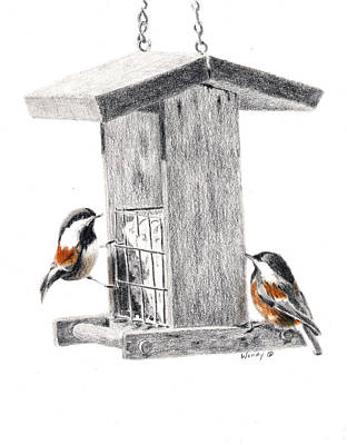 Chickadee Drawing - Tea For Two by Wendy Mould