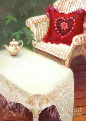 Painting - Tea In A Victorian Cottage Garden by Nancy Lee Moran