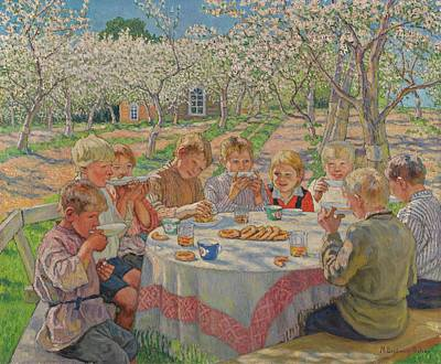 Tea In The Apple Orchard Art Print by Nikolai Petrovich Bogdanov Belsky