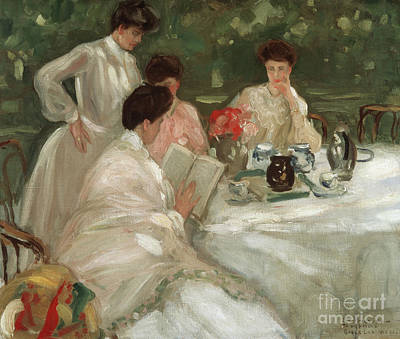Le Jardin Wall Art - Painting - Tea In The Garden by Frederick Carl Frieseke