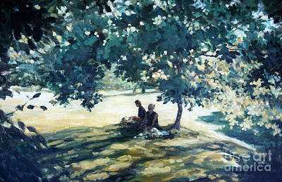 Mother And Daughter Painting - Tea In The Garden by Richard Willis