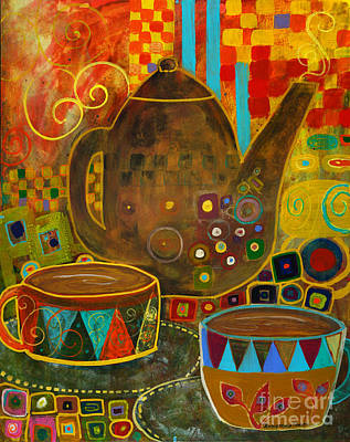 Tea Party With Klimt Art Print by Robin Maria Pedrero