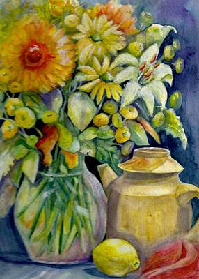 Tea Pot And Flowers Art Print by KC Winters