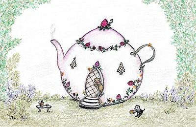 Tea Pot Bears Art Print by Carolyn Corretti