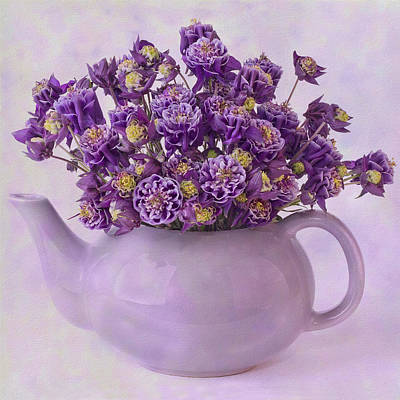Photograph - Tea Pot Of Purple Columbine Flowers by Sandra Foster