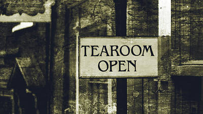 Photograph - Tea Room Open Sign Isolated by Jacek Wojnarowski