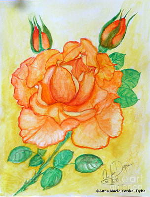 Folkartanna Painting - Tea Rose by Anna Folkartanna Maciejewska-Dyba