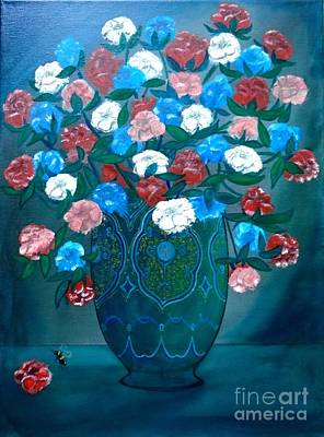 Painting - Tea Roses And Bee by John Lyes