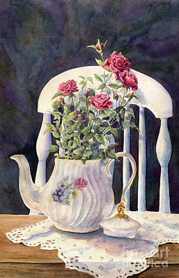 Teapot Painting - Tea Roses by Malanda Warner