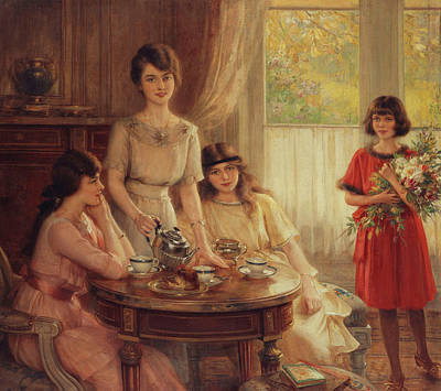 Sisters Painting - Tea Time by Albert Lynch