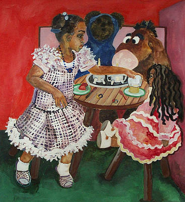 Tea Party Painting - Tea Time by Amira Najah Whitfield