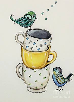 Painting - Tea Time Friends by Elizabeth Robinette Tyndall