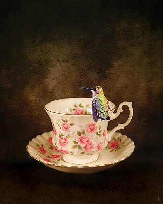Tiny Bird Photograph - Tea Time With A Hummingbird by Jai Johnson