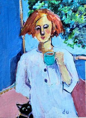 Painting - Tea With A Black Cat by Diane Ursin