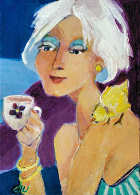 Painting - Tea With A Yellow Bird by Diane Ursin