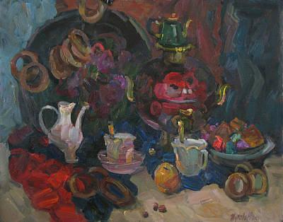 Samovar Painting - Tea With Bread-rings by Juliya Zhukova
