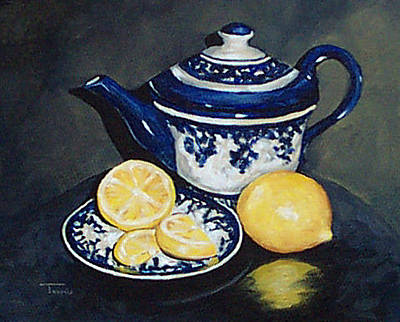 Teapot Painting - Tea With Lemons  by Torrie Smiley