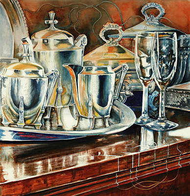 Sterling Silver Painting - Tea With Marguerite by Carolyn Coffey Wallace