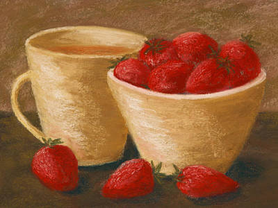 Tea With Strawberries Art Print by Cheryl Albert