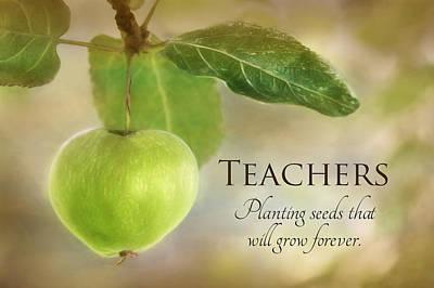 Apple Mixed Media - Teachers by Lori Deiter