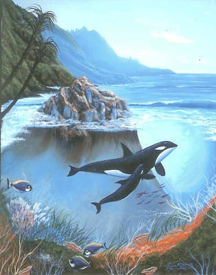 Painting - Teaching Baby Orca by Susan Elizabeth Wolding