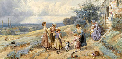 Teaching Dolly To Walk Print by Myles Birket Foster
