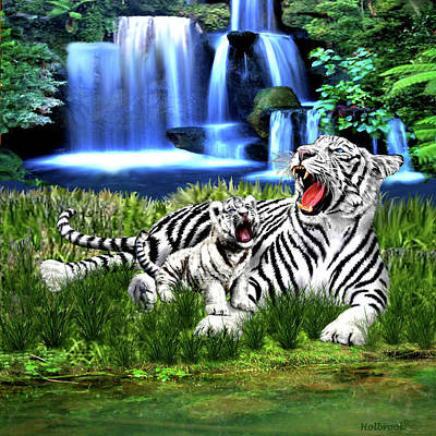 Digital Art - Tiger Cub Learns To Roar by Glenn Holbrook