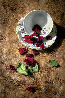 Teacup And Red Rose Petals Art Print