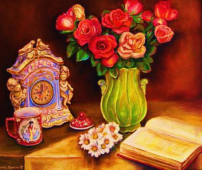 Painting - Teacup And Roses by Carole Spandau