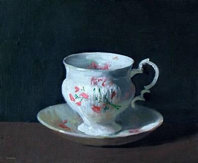 Teacup And Saucer On Dark Background Art Print