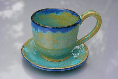Ceramic Art - Teacup And Small Saucer by Polly Castor