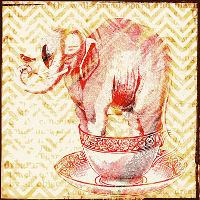 Chevron Mixed Media - Teacup Elephant by Brandi Fitzgerald