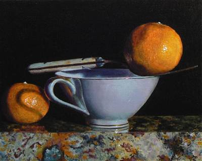 Teacup, Fork, And Two Oranges On Granite Art Print by Jeffrey Hayes