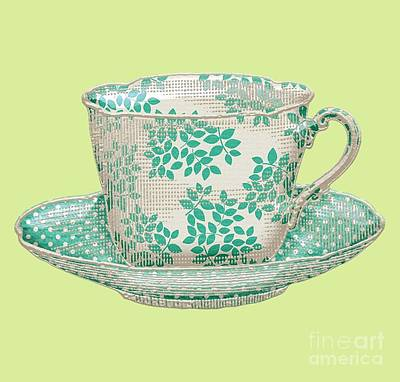 Digital Art - Teacup Garden Party 1 by J Scott