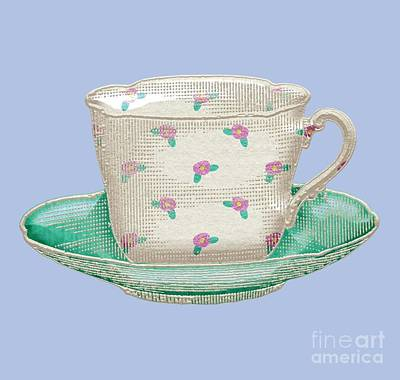 Digital Art - Teacup Garden Party 2 by J Scott