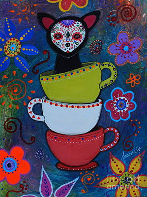 Painting - Teacups And A Chihuahua by Pristine Cartera Turkus