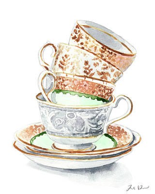Teacups Collection Antique Watercolor Painting - Mismatched Green Gold Tea Party Alice In Wonderland Art Print by Laura Row