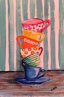 Painting - Teacups by Vikki Angel