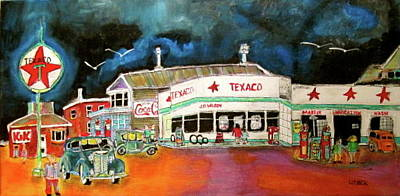 Litvack Naive Painting - Teague Texaco 1940 by Michael Litvack