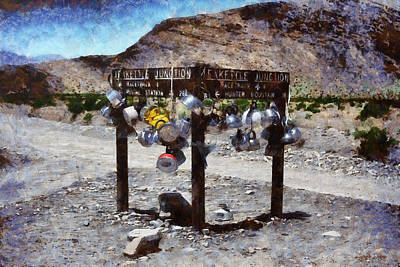 Gravel Road Painting - Teakettle Junction At Death Valley - Pa by Leonardo Digenio