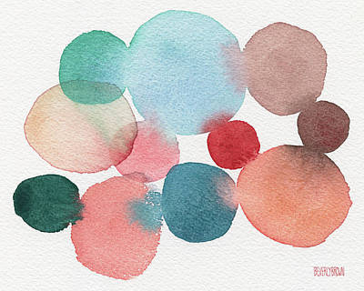 Teal And Coral Abstract Watercolor  Art Print by Beverly Brown