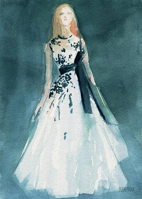 Painting - Teal And White Evening Dress by Beverly Brown Prints
